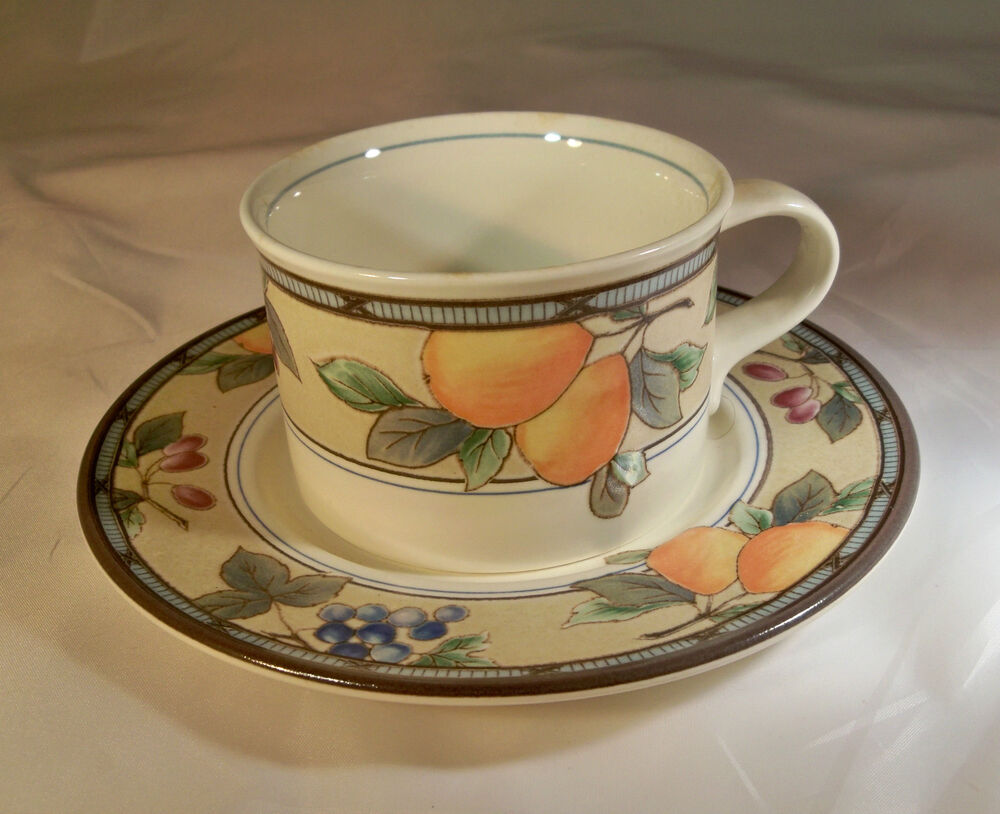 MIKASA INTAGLIO CAC29 GARDEN HARVEST FRUITS CUP & SAUCER SET MADE IN ...