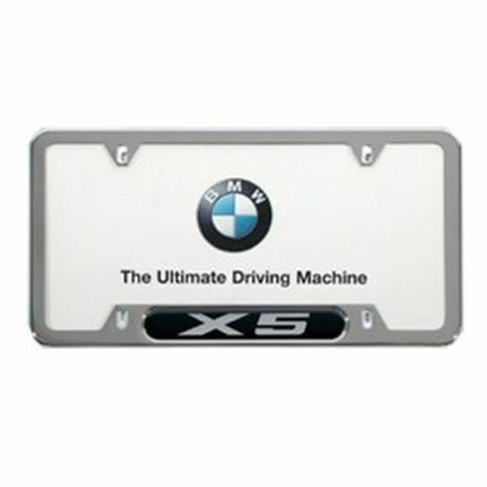 BMW X5 LICENSE PLATE FRAME, POLISHED STAINLESS STEEL
