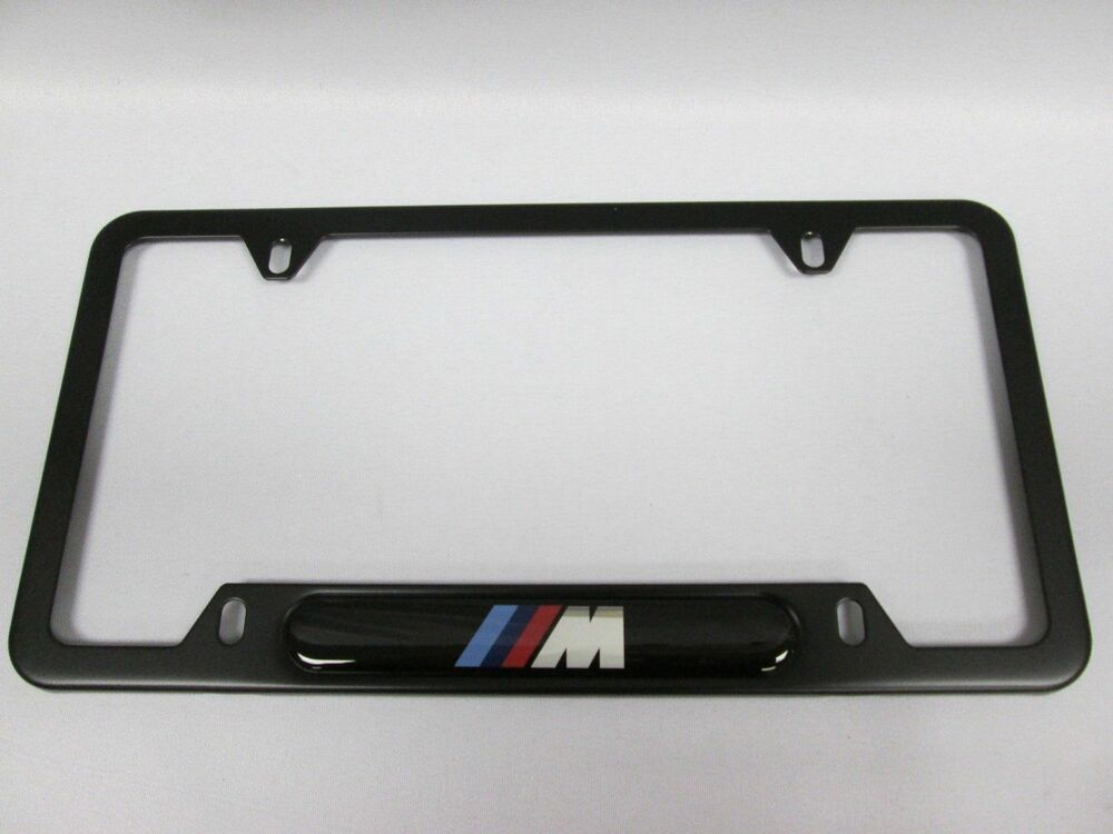 Bmw Black Stainless Steel License Frame With M Logo