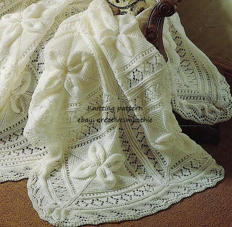 HEIRLOOM BABY SHAWL & COT BLANKET in LEAF PATTERN, DK KNITTING PATTERN - ...