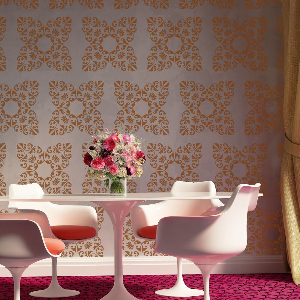 Allover wall damask stencil bernice for diy painted for Damask wall mural