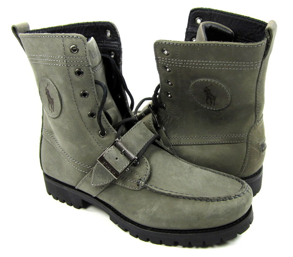 polo ralph shoes ranger straps suede leather grey