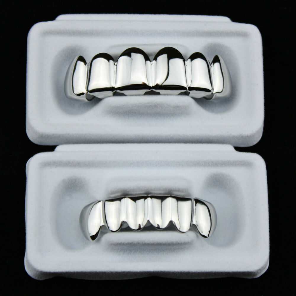 Silver Grillz Platinum Plated Teeth Mouth Grills Bling Hip ...