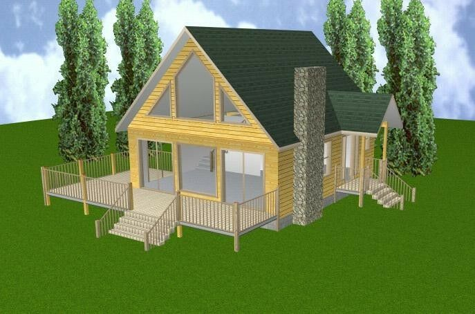 24x28 cabin w loft basement plans package blueprints for A frame garage with loft