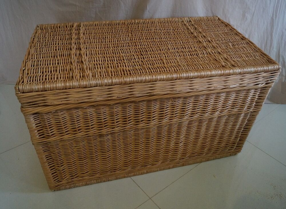 WICKER CHEST STORAGE Trunk Solution Willow Box Lid Toy ...