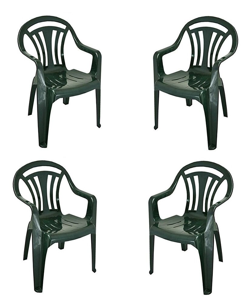 NEW PLASTIC LOW BACK PATIO GARDEN CHAIR GREEN COLOR PACK OF 4 PREMIUM QUALITY