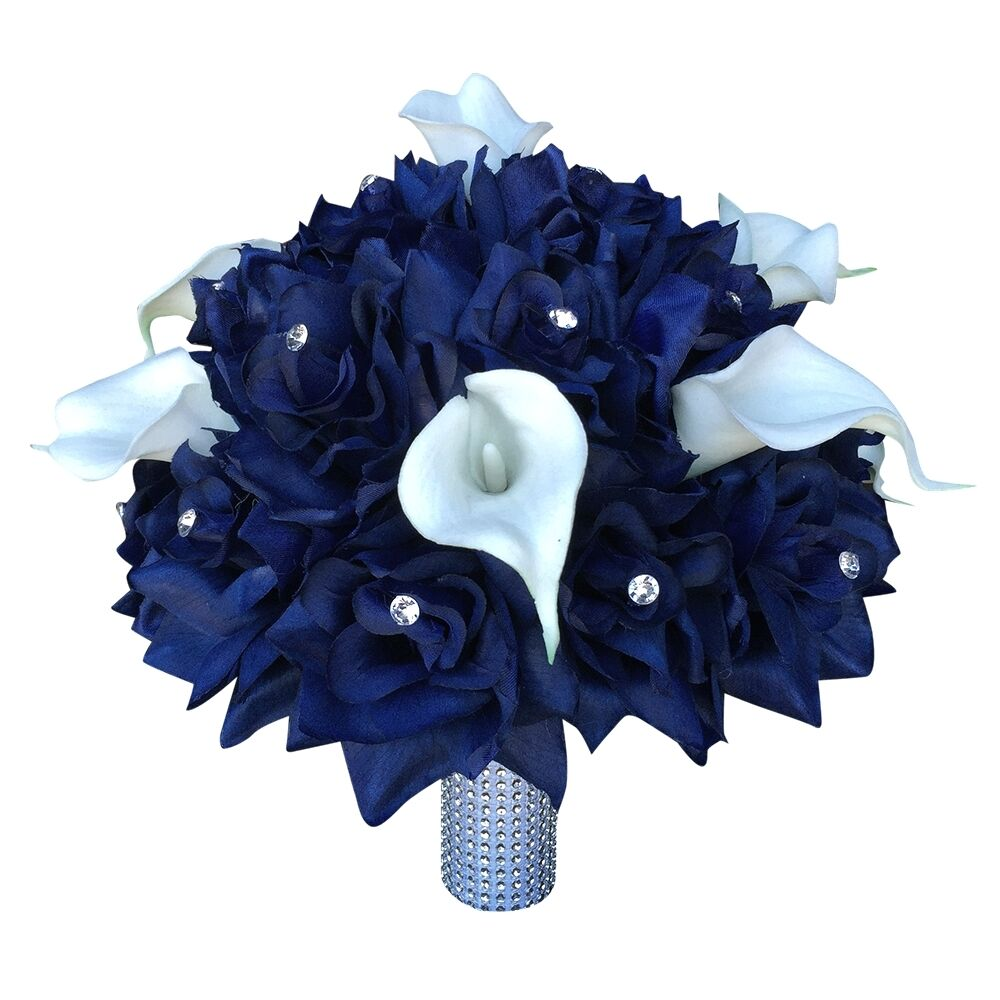 10 large bridal bouquet navy blue with white calla lily artificial flowers ebay. Black Bedroom Furniture Sets. Home Design Ideas