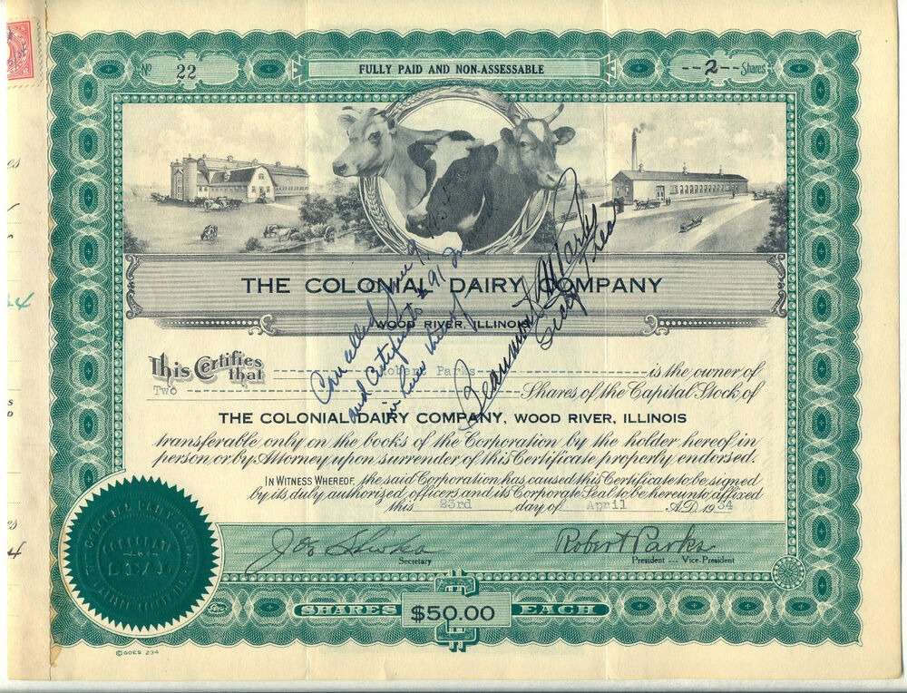 Wood River Il Elevation : The colonial dairy company stock certificate wood river