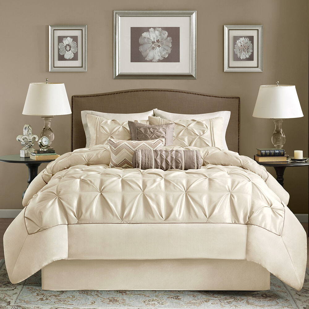 Beautiful 7pc modern elegant ivory taupe ruffled pintuck pleated comforter set ebay for Beautiful bedroom comforter sets