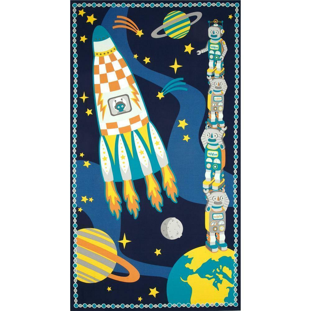 Atomic bots robots in space wall hanging quilt cotton for Space fabric panel