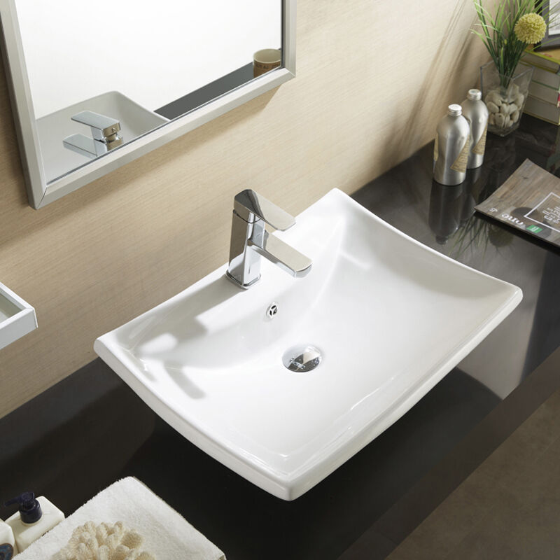 Sink With Countertop: Ceramic White Counter Top Basin Sink Unit Wall Suit