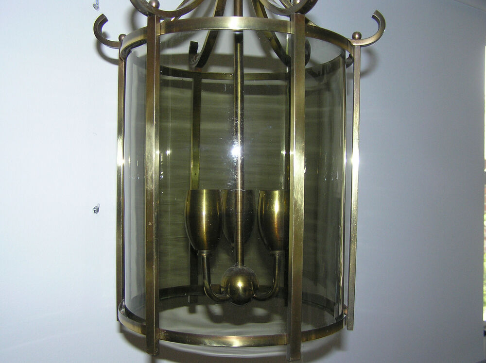 antique brass 3 arm ceiling lamp with glass shade ebay. Black Bedroom Furniture Sets. Home Design Ideas