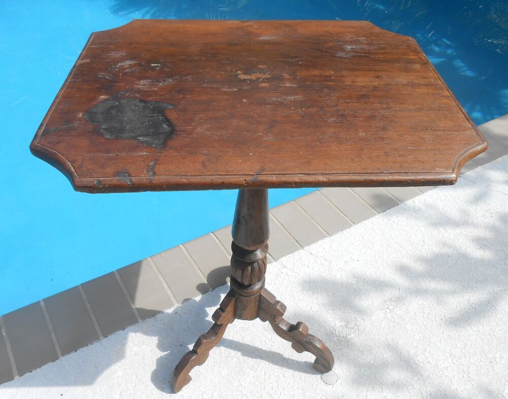 18th century look candle stand table with antique top and for Th 37px60b table top stand