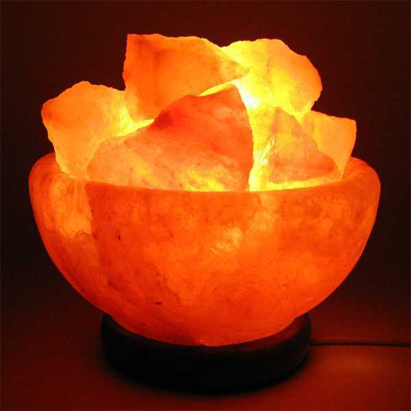 Himalayan Salt Crystal Fire Basket Lamp With Wood Base
