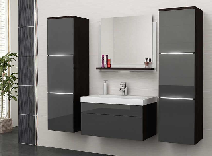 New high gloss matt wall hang unit bathroom furniture for Wenge bathroom mirror