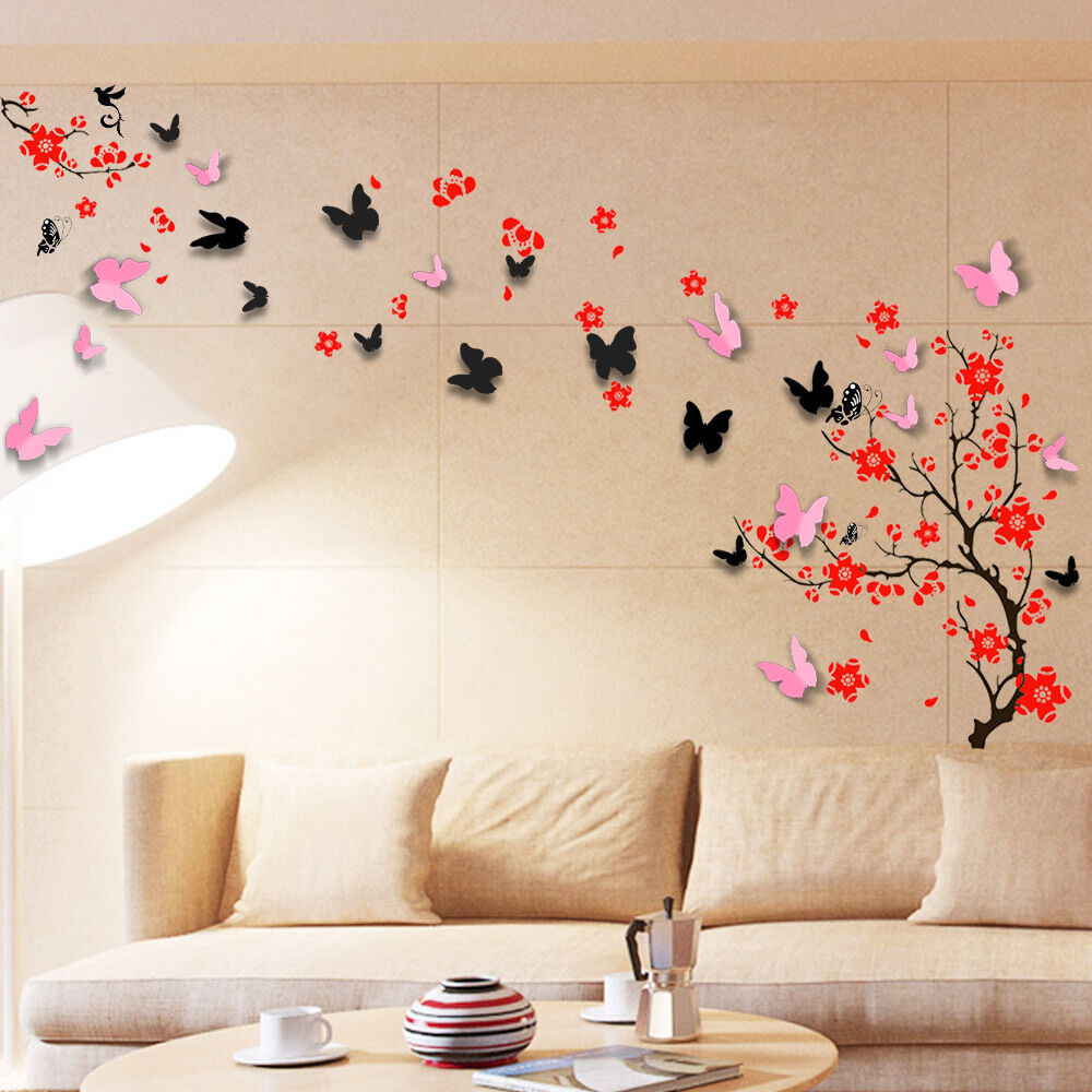 wall sticker mural decal paper art decoration blossom flower 3d butterfly family ebay. Black Bedroom Furniture Sets. Home Design Ideas