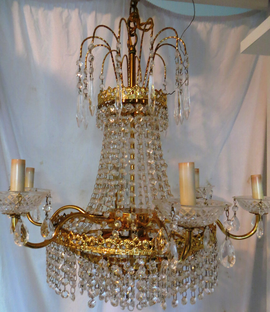 Crystal Chandelier Old: Absolutely GORGEOUS Vintage Gold Brass Chandelier Lamp
