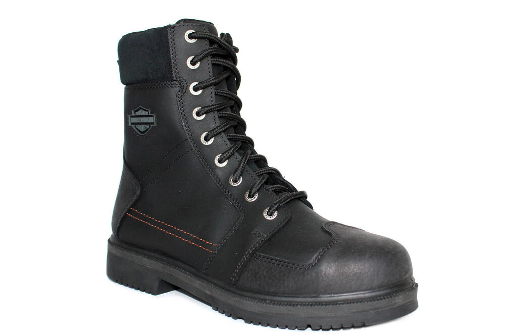 harley davidson steel toe mens black leather boots