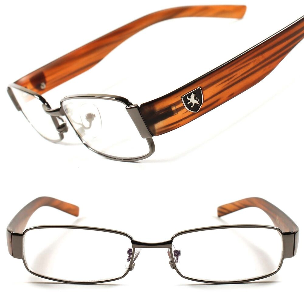 stylish wood effect clear lens mens womens eye glasses