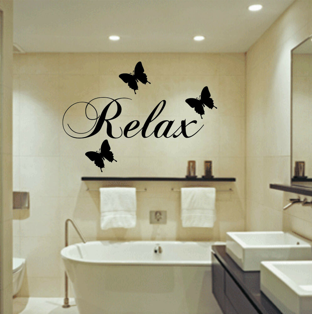 Relax butterflies wall art sticker bathroom quote decal for Relax bathroom wall decor