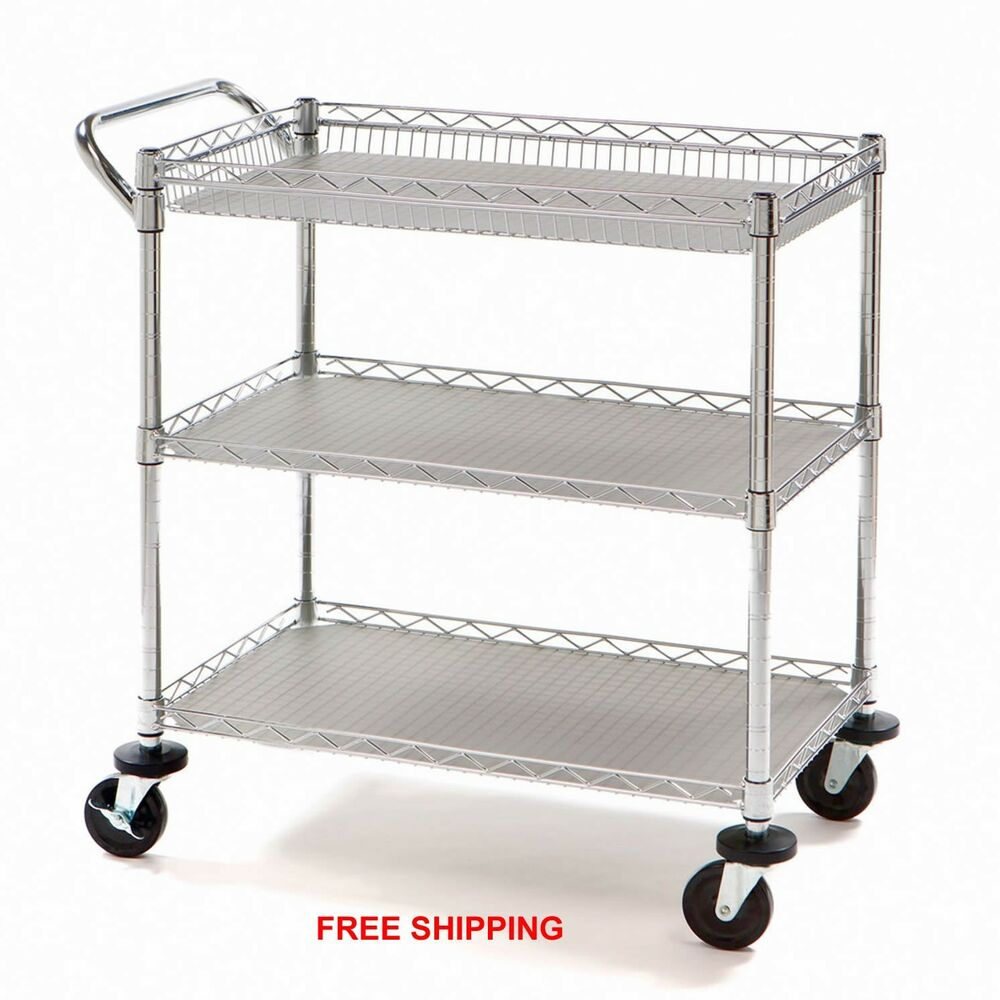 Utility Push Cart Rolling Heavy Duty Medical Restaurant