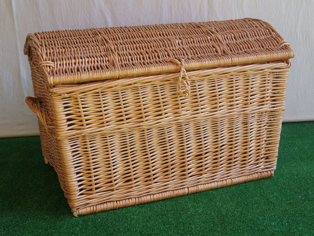 wicker chest storage trunk solution willow box toy blanket linen large pirate 60 ebay. Black Bedroom Furniture Sets. Home Design Ideas