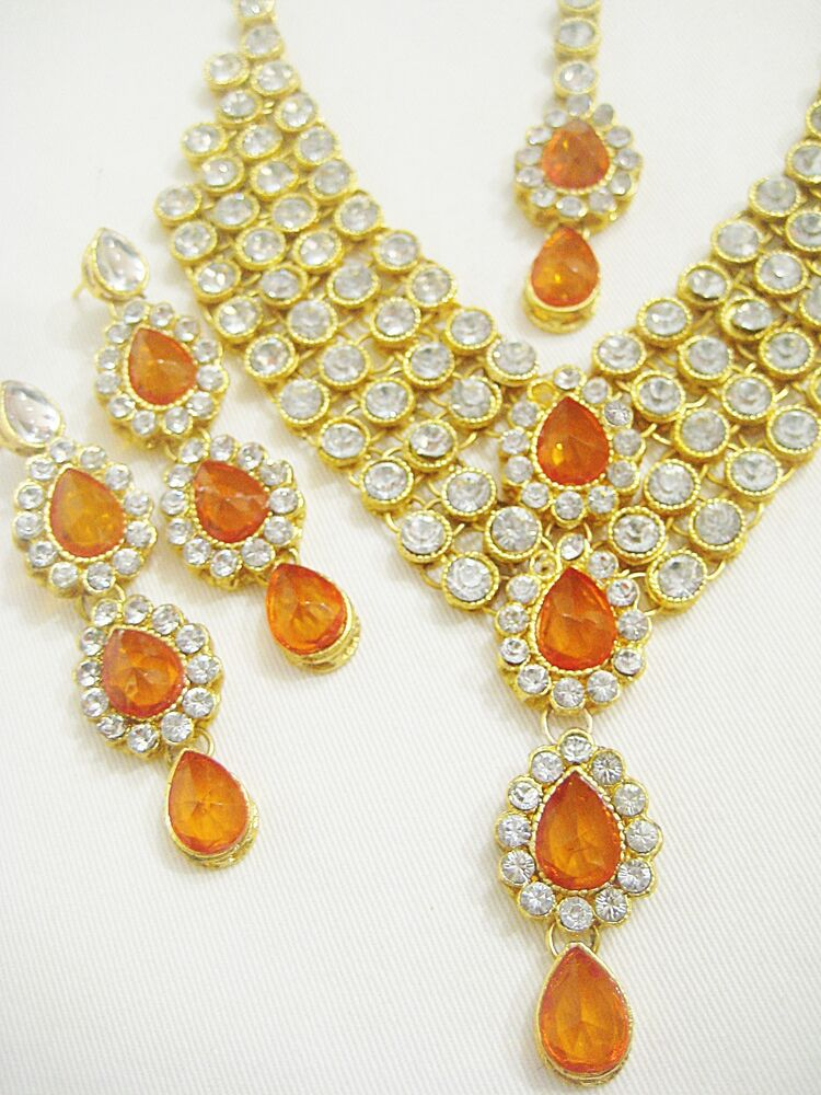 indian gold plated stones kundan necklace earrings fashion