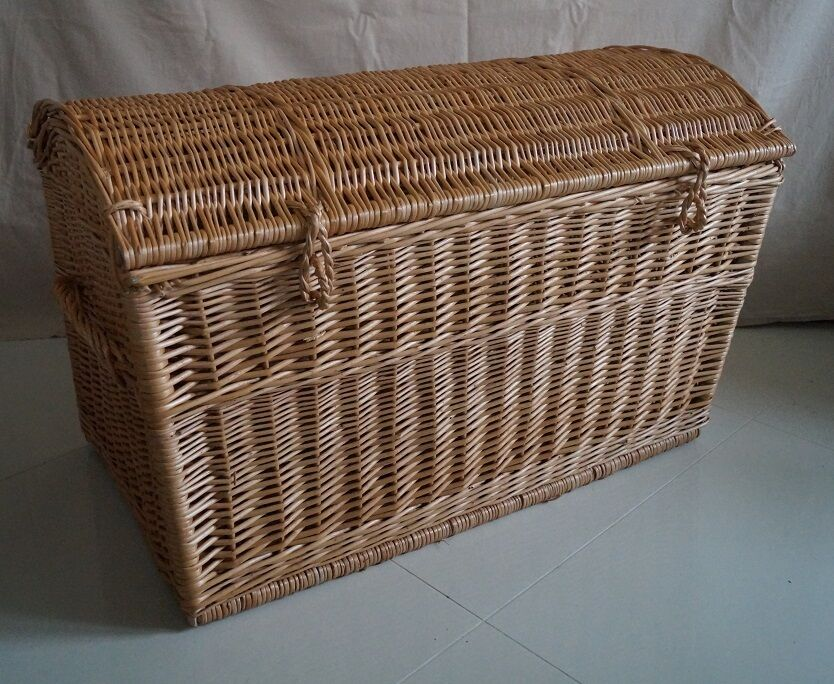 Wicker Toy Basket With Lid : Wicker chest storage trunk solution willow box toy blanket