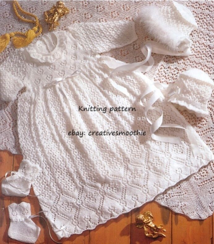 Knitting Pattern For Christening Shawl Free : (582) HEIRLOOM CHRISTENING SET: ROBE, SHAWL, BOOTEES, BONNET, KNITTING PATTER...