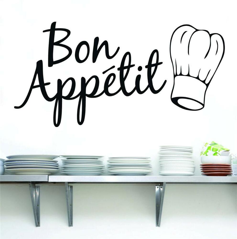 Bon appetit quote decal wall sticker home decor art words for Kitchen set letter l