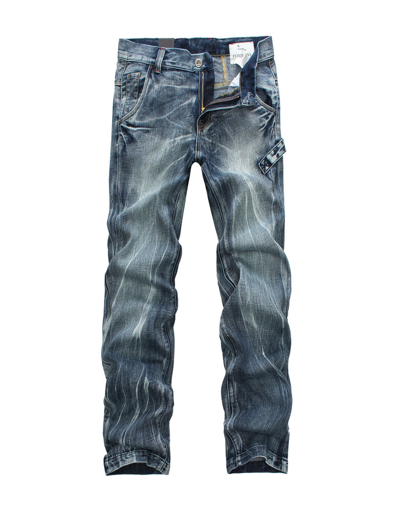 new mens foxjeans denim men 39 s blue jeans size32 34 36 38 40 42 44 46 ebay. Black Bedroom Furniture Sets. Home Design Ideas