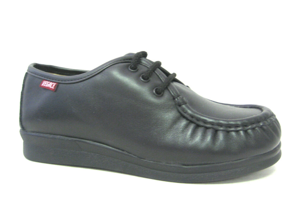 vegace black leather comfort restaurant work shoe