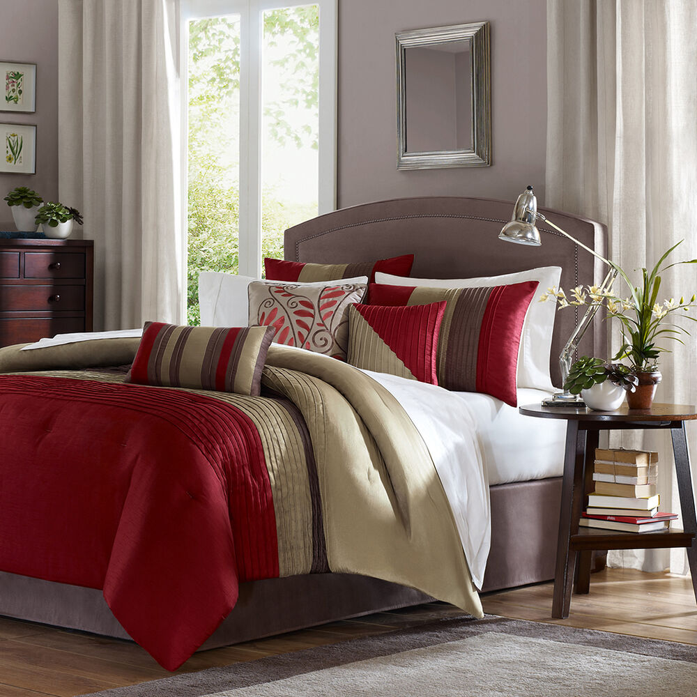 Beautiful 7 Pc Red Beige Taupe Brown Stripe Comforter Set