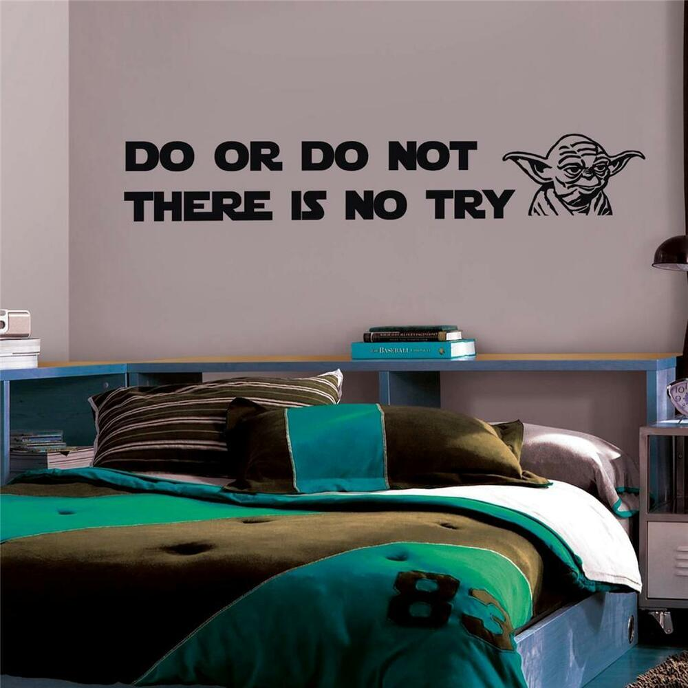 Yoda Quote There Is No Try: DO OR DO NOT Yoda Quote Decal WALL STICKER Home Decor Art