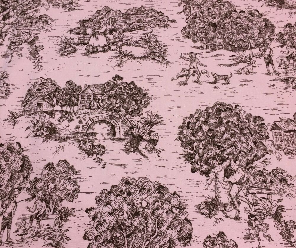 premier prints village toile pink brown multi use fabric by the yard 54 w ebay. Black Bedroom Furniture Sets. Home Design Ideas