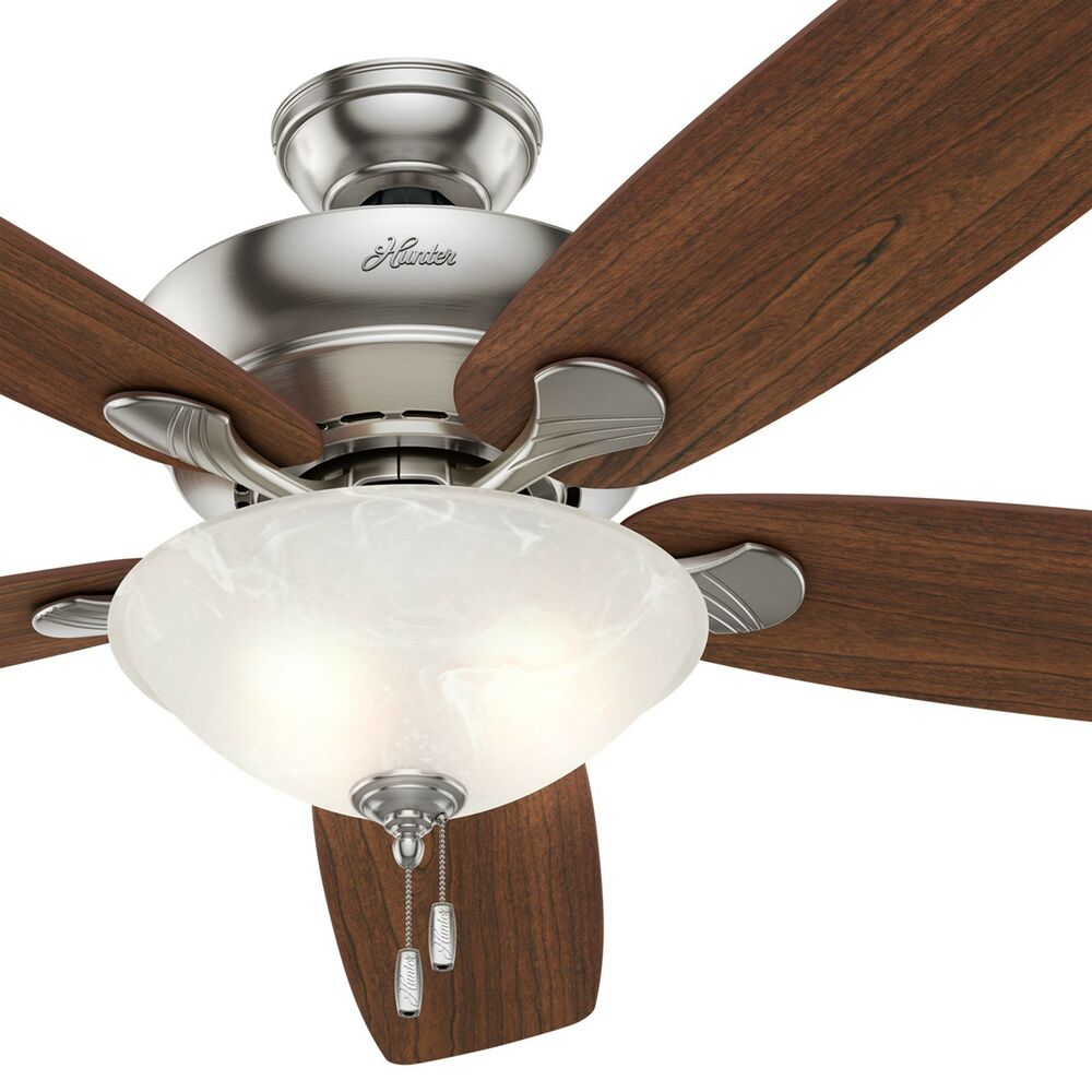 Hunter 60 brushed nickel ceiling fan maplecherry blades light hunter 60 brushed nickel ceiling fan maplecherry blades light kit ebay aloadofball Choice Image