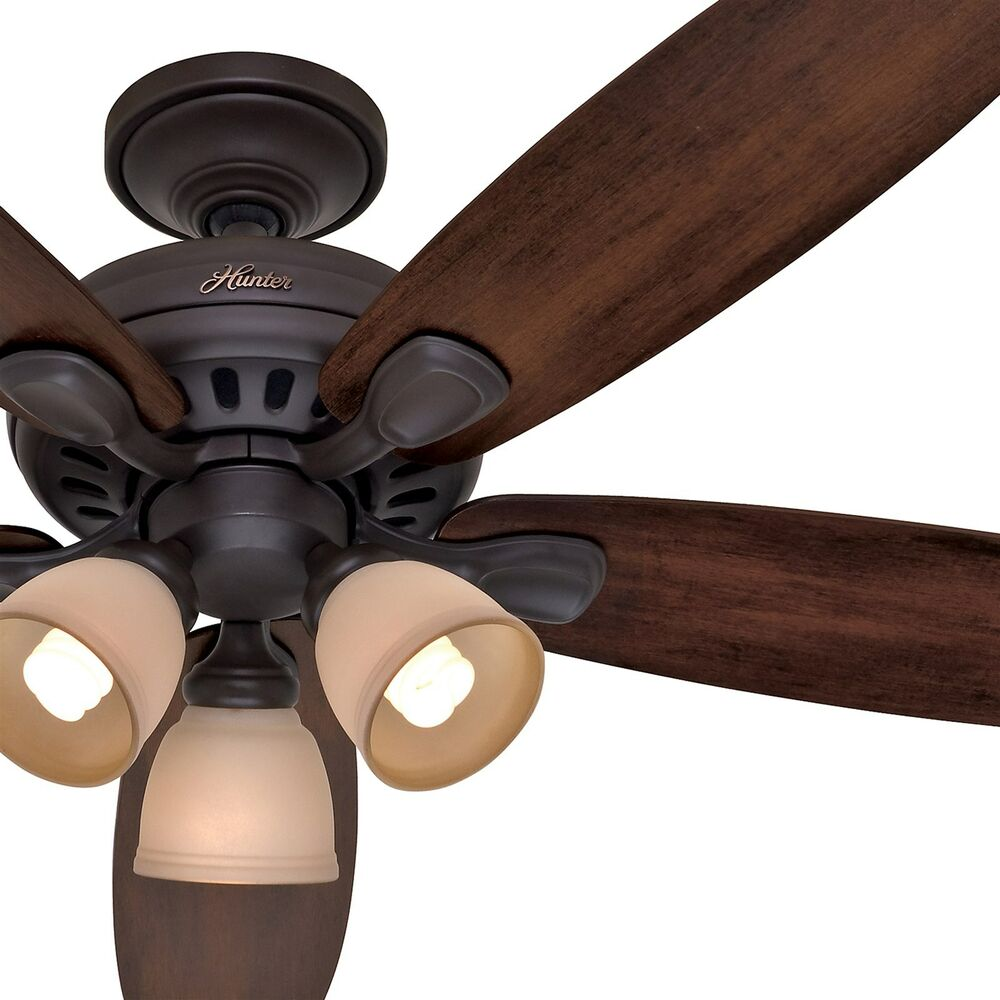 Hunter 52 In  New Bronze Ceiling Fan With Light  U0026 Remote