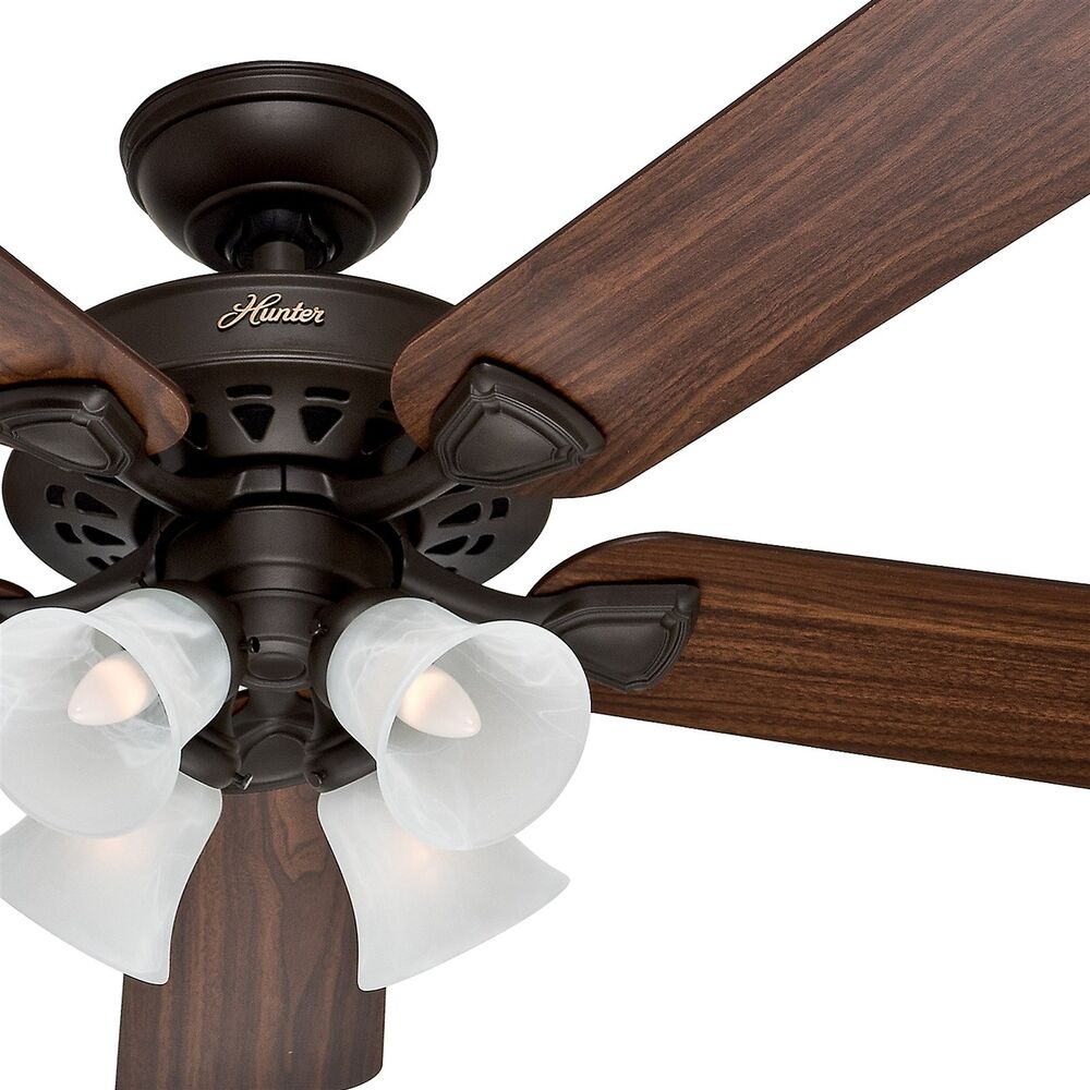 Ceiling Fan With Light How To Change Bulb : Hunter traditional new bronze finish ceiling fan with