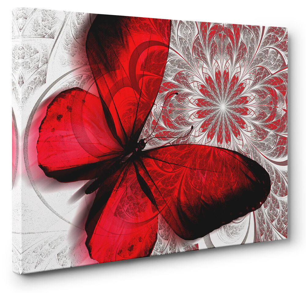 Unique red abstract butterfly canvas print wall art for Buy large canvas prints