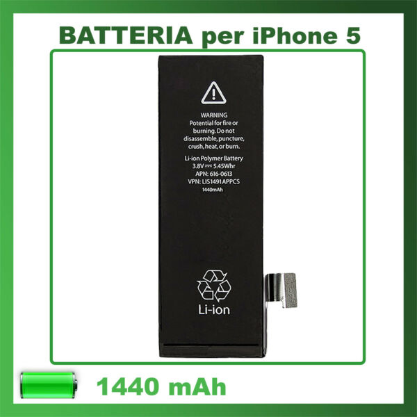 BATTERIA PER APPLE IPHONE 5 1440 mAh CAPACITA' ORIGINALE ✚ ZERO CICLI