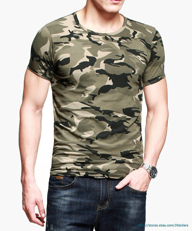 Mens tee athletic t shirts military camping camouflage for What is a fitted t shirt