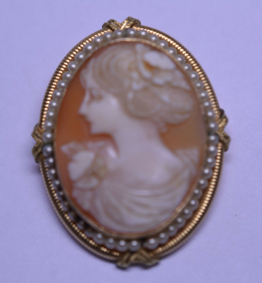 Antique Esemco 10k Yellow Gold Signed Shell Cameo Pin With