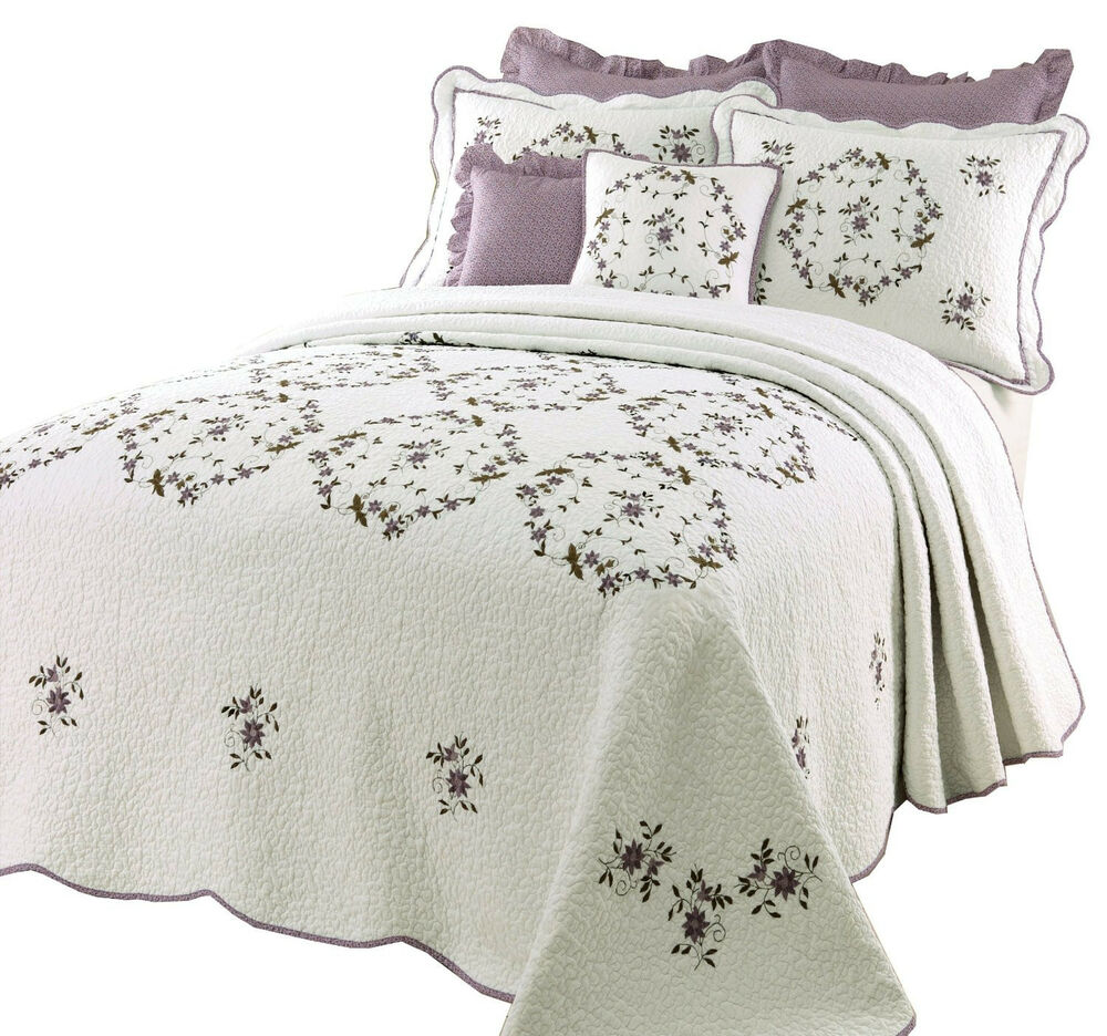 Lavender floral bedding - Beautiful White Green Purple Lavender Floral Quilt Bedspread Xl Over Sized Ebay