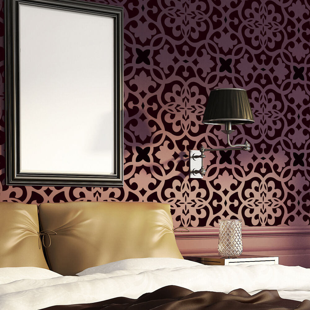 moroccan trellis wall allover stencil pattern bonnie for modern wall deco ebay. Black Bedroom Furniture Sets. Home Design Ideas