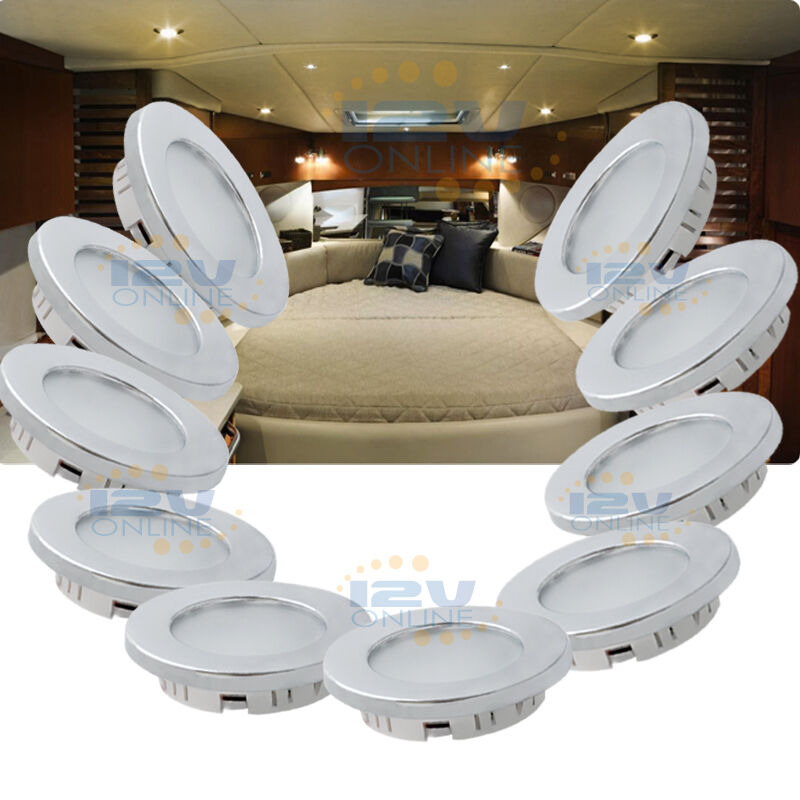 "10x12V 2.75"" LED Recessed Ceiling Light RV Trailer Marine"