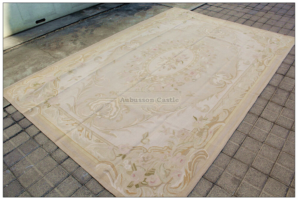6x9 Pastel Antique French Aubusson Area Rug Wool Flat
