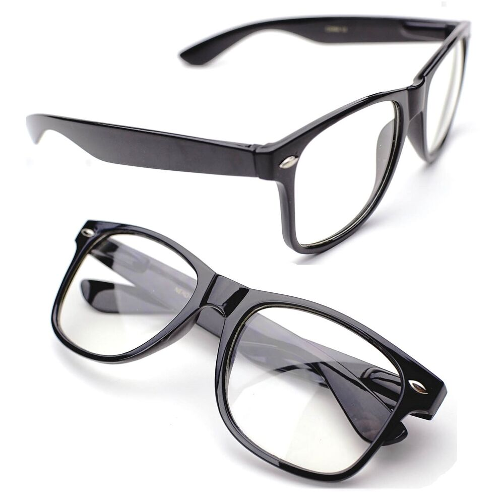 Black Frame Glasses Clear Lens : Horn Rimmed Clear Lens Black Frames Glasses Fashion Nerd ...