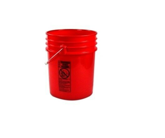 5 Gallon Red Hdpe Plastic Bucket Pail With Lid Ebay
