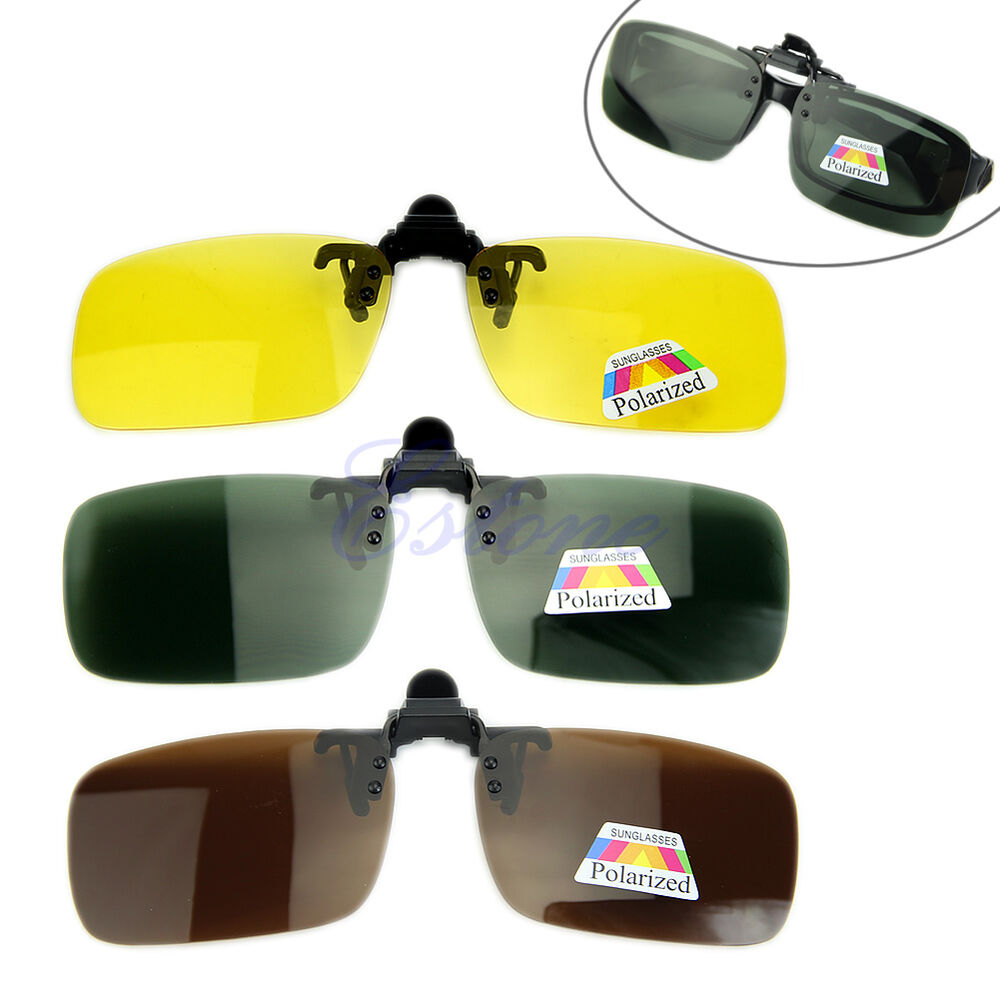 sunglasses lenses polarized  Polarized Day Night Vision Driving Glasses Clip-on Flip-up Lens ...