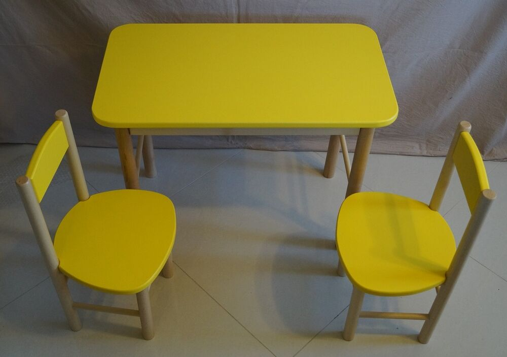 Kids table 2 chairs classroom wooden solid wood garden for Outdoor furniture yellow